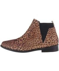 Hnědé dámské kožené leopardí chelsea boty Bullboxer