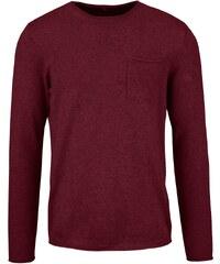 Vínový svetr s kapsou Blend