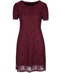 Vínové krajkované šaty Mela London