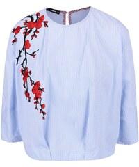 Modrá pruhovaná halenka s vyšívanými květy Alchymi Preslia