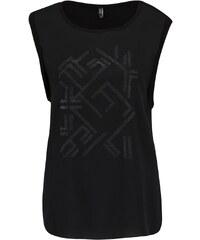 Černé tričko bez rukávů s třpytivým potiskem ONLY Mynte