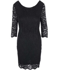 Černé krajkované šaty s 3/4 rukávy Vero Moda Garden