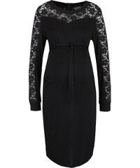 Černé těhotenské šaty s krajkovými detaily Mama.licious Lason