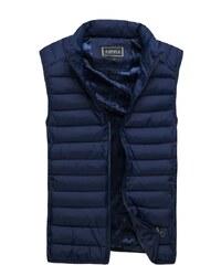 Tmavě modrá moderní prošívaná vesta J. STYLE 3116