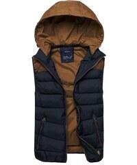 Moderní tmavě modrá vesta s hnědým detailem NATURE 3905