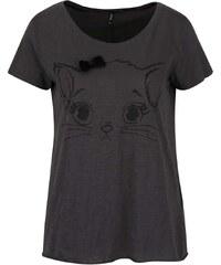 Tmavě šedé tričko s mašlí a motivem kočky ONLY Kaya