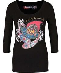 Černé tričko s barevným ornamentem a 3/4 rukávy Desigual Natasha