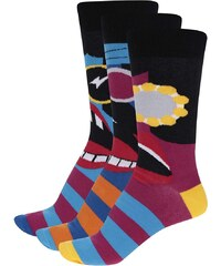 Sada tří černo-modrých pánských ponožek Oddsocks Barry