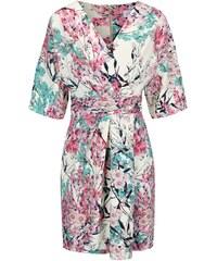 Krémové šaty se zeleno-růžovými květy Closet