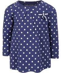 Tmavě modré holčičí puntíkované tričko s dlouhým rukávem 5.10.15.