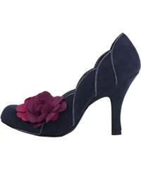 Tmavě modré lodičky s vínovou květinou Ruby Shoo April