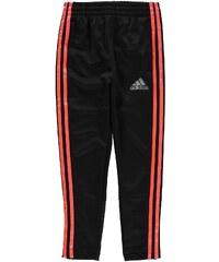 Adidas 3 Stripe Fleece Jogging Bottoms Junior Boys, black/solarred