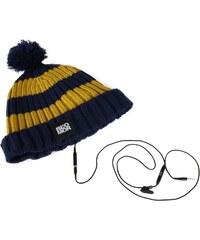 Blomor Pom Pom Headphones Beanie Hat, navy/yellow