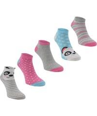 Miss Fiori 5 Pack Trainer Liner Socks Ladies, grey panda