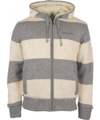 Soul Cal SoulCal Stripe Lined Knitted Cardigan, mid greym/cream