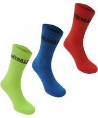 Lonsdale 3 Pack Ladies Sport Crew Socks, green/blue/org