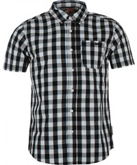Lee Cooper Short Sleeved Checked Shirt Junior Boys, white/black/blu