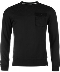 Fabric Quilted Sleeve Sweater, black