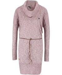 Růžový dámský žíhaný dlouhý úpletový svetr s páskem Ragwear Port
