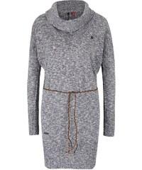 Tmavě šedý dámský žíhaný dlouhý úpletový svetr s páskem Ragwear Port