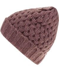 Růžová pletená čepice s mašlí Pieces Victorine