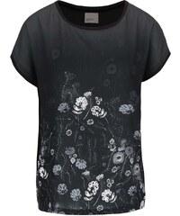 Černé tričko s potiskem květin Vero Moda Sia