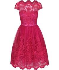 Růžové krajkované šaty Chi Chi London Suki