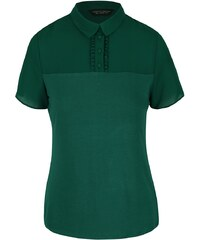 Tmavě zelená halenka s límečkem Dorothy Perkins