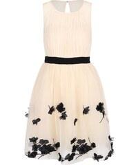 Krémové šaty s černými květy Little Mistress