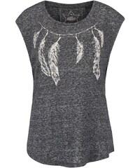 Tmavě šedé žíhané tričko bez rukávů s potiskem ONLY Madeline