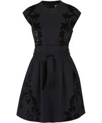 Černé šaty s mašlí a flitry Desigual Serena
