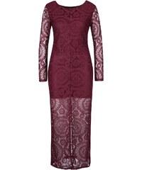 Vínové krajkované dlouhé šaty Mela London