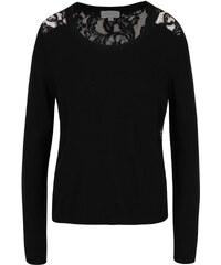Černý lehký svetr s krajkovými zády Apricot