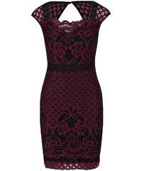 Černo-vínové šaty s krajkovými detaily Lipsy