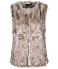 Šedohnědá vesta z umělé kožešiny Mela London