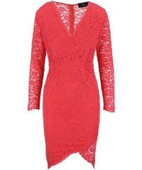 Korálové krajkové šaty s dlouhým rukávem AX Paris