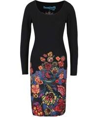 Černé šaty s barevnými květy Desigual Martina