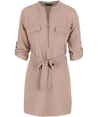 Béžové šaty se zipem Dorothy Perkins