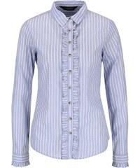 Světle modrá pruhovaná košile s volánky Dorothy Perkins
