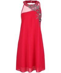 Fuchsiové šifonové šaty s výšivkou květů Little Mistress