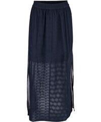 Tmavě modrá krajkovaná maxi sukně s rozparky Dorothy Perkins