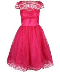 Růžové krajkované šaty Chi Chi London Ruthie