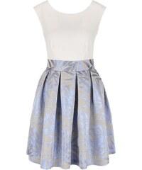 Krémovo-modro-šedé šaty s metalickými odlesky Closet