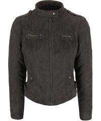 Tmavě šedá bunda v semišové úpravě Vero Moda Houston