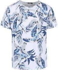 Bílé pánské triko s modrým tropickým vzorem ZOOT