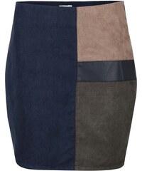 Zeleno-modrá sukně v semišové úpravě Lavand