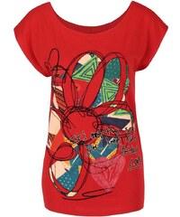 Červené tričko s květinou Desigual Cristina