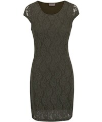 Khaki krajkované šaty s krátkým rukávem Vero Moda Lilly