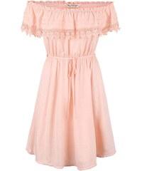 Světle růžové šaty s krajkovaným volánkem Miss Selfridge