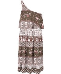 Krémové vzorované šaty přes jedno rameno ONLY Nadia